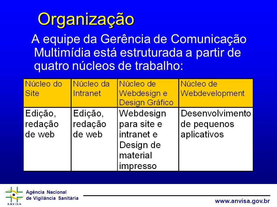 Organização A equipe da Gerência de Comunicação Multimídia está estruturada a partir de quatro núcleos de trabalho: