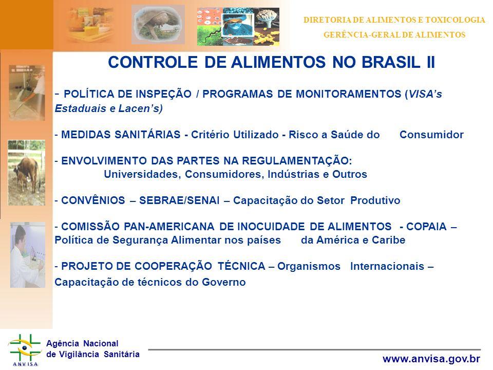 CONTROLE DE ALIMENTOS NO BRASIL II