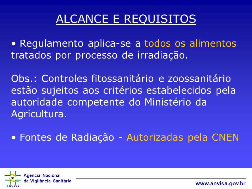 ALCANCE E REQUISITOS Regulamento aplica-se a todos os alimentos tratados por processo de irradiação.