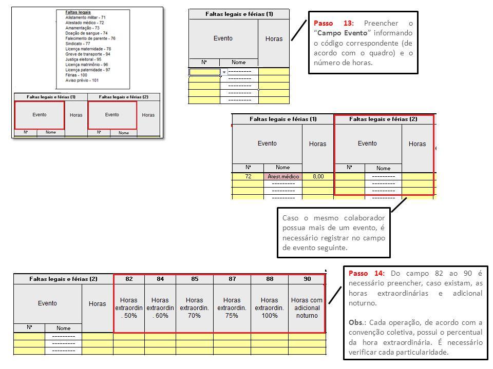 Passo 13: Preencher o Campo Evento informando o código correspondente (de acordo com o quadro) e o número de horas.