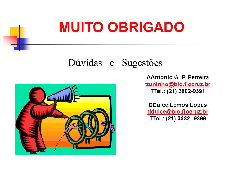 MUITO OBRIGADO Dúvidas e Sugestões AAntonio G. P. Ferreira