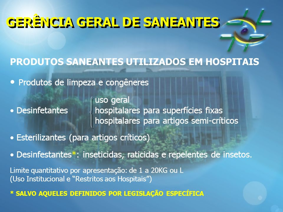GERÊNCIA GERAL DE SANEANTES
