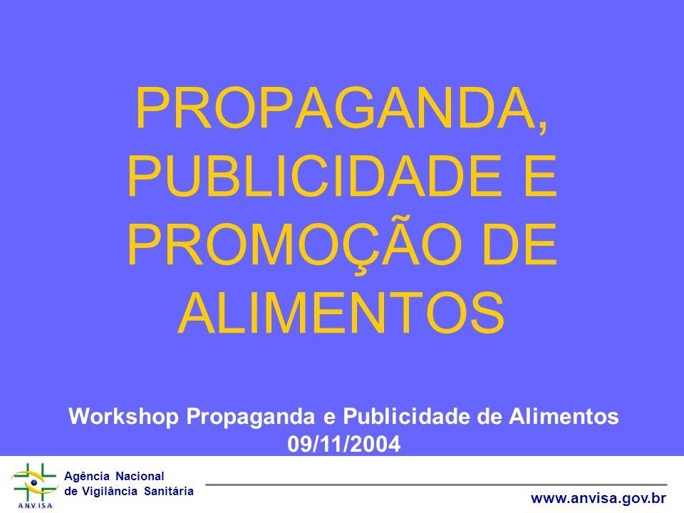 PROPAGANDA, PUBLICIDADE E PROMOÇÃO DE ALIMENTOS