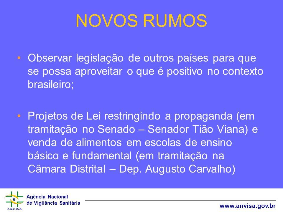 NOVOS RUMOS Observar legislação de outros países para que se possa aproveitar o que é positivo no contexto brasileiro;