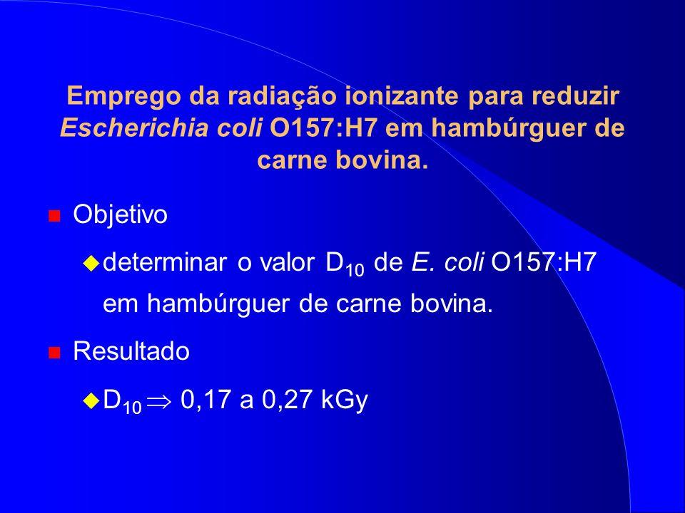 Emprego da radiação ionizante para reduzir Escherichia coli O157:H7 em hambúrguer de carne bovina.