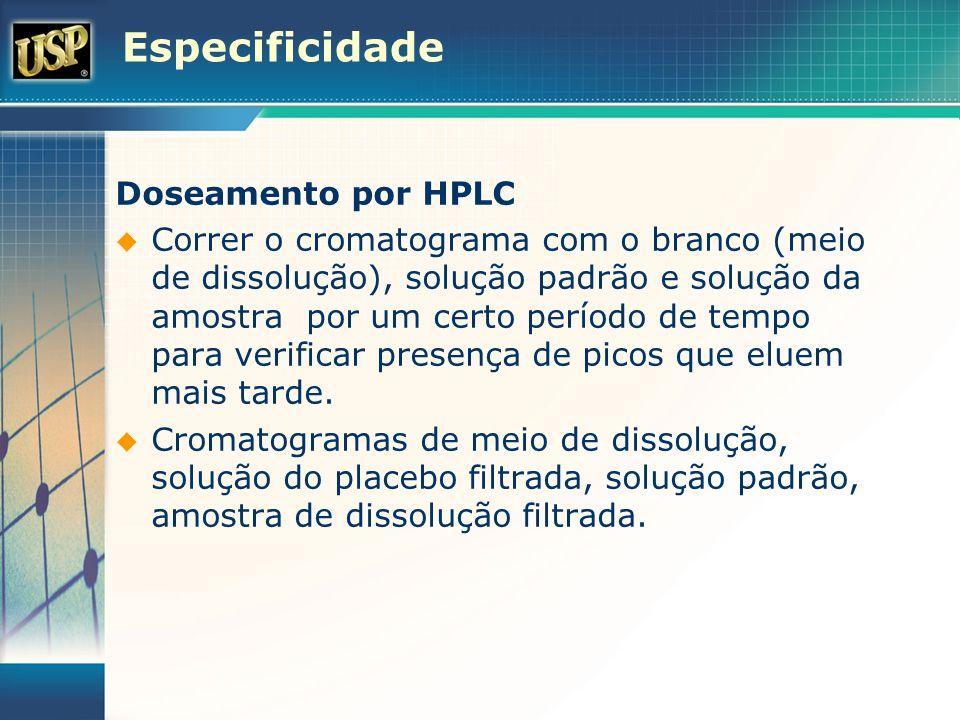 Especificidade Doseamento por HPLC