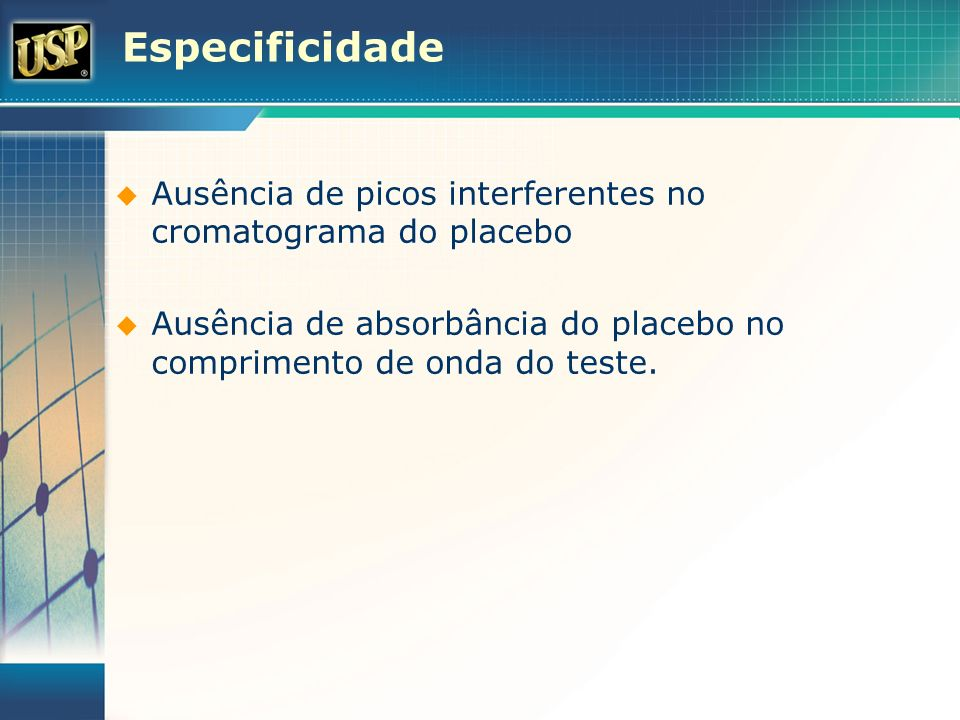 EspecificidadeAusência de picos interferentes no cromatograma do placebo.