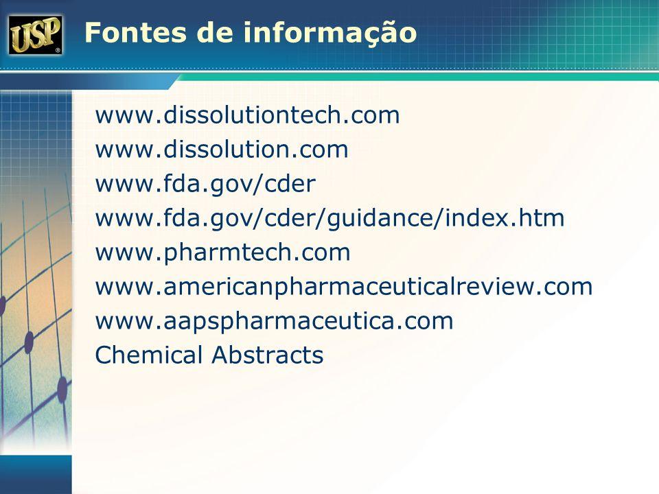 Fontes de informação www.dissolutiontech.com www.dissolution.com