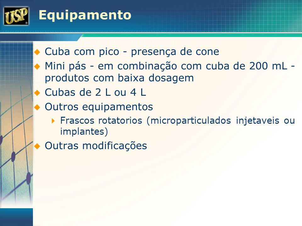 Equipamento Cuba com pico - presença de cone