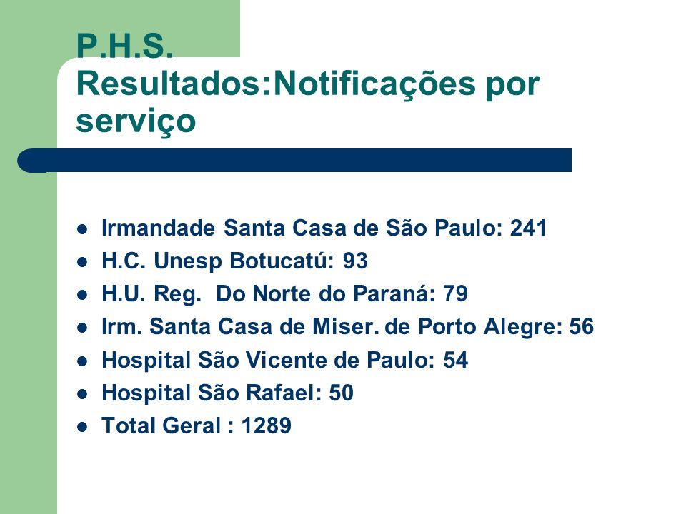 P.H.S. Resultados:Notificações por serviço