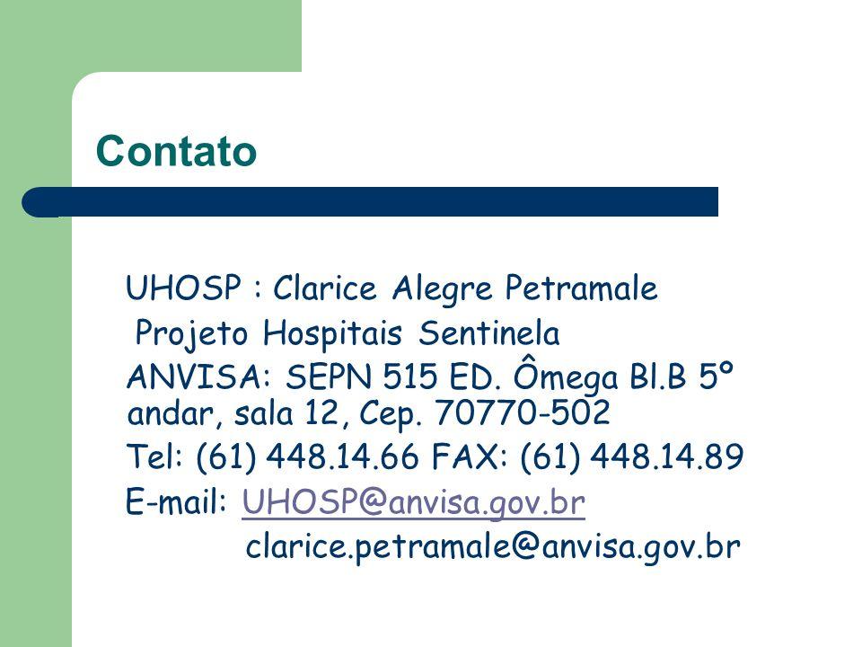 Contato UHOSP : Clarice Alegre Petramale Projeto Hospitais Sentinela
