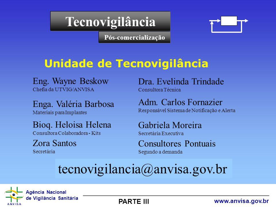 Tecnovigilância tecnovigilancia@anvisa.gov.br