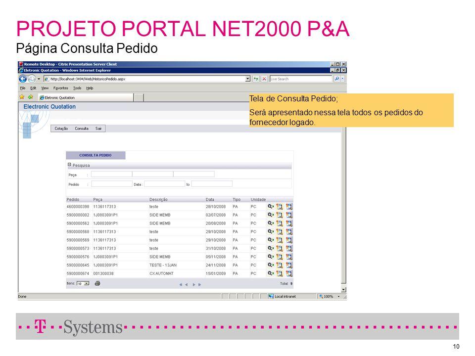 PROJETO PORTAL NET2000 P&A Página Consulta Pedido