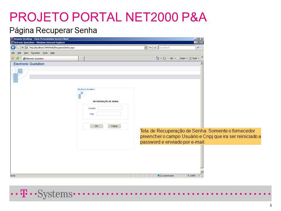 PROJETO PORTAL NET2000 P&A Página Recuperar Senha