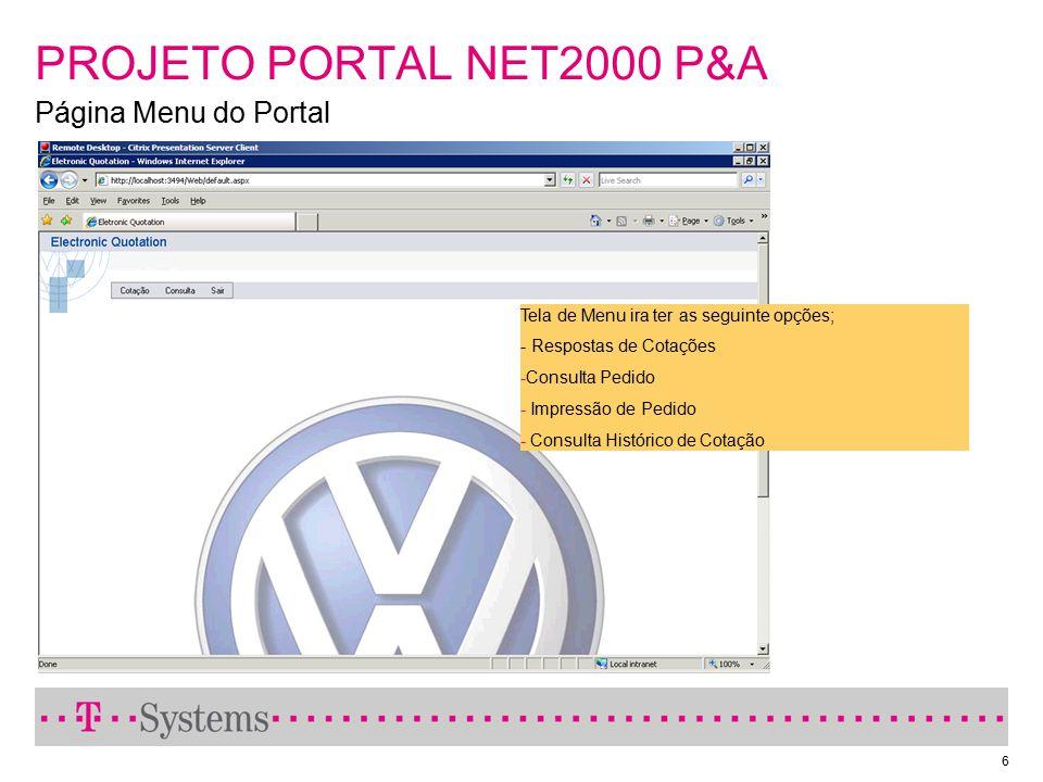 PROJETO PORTAL NET2000 P&A Página Menu do Portal