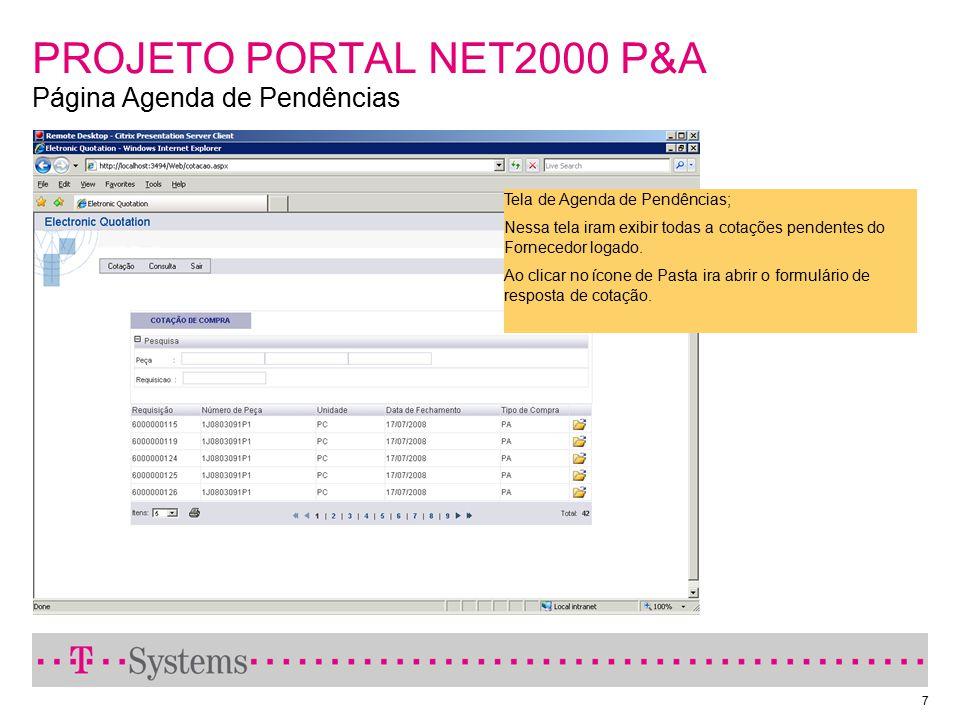 PROJETO PORTAL NET2000 P&A Página Agenda de Pendências