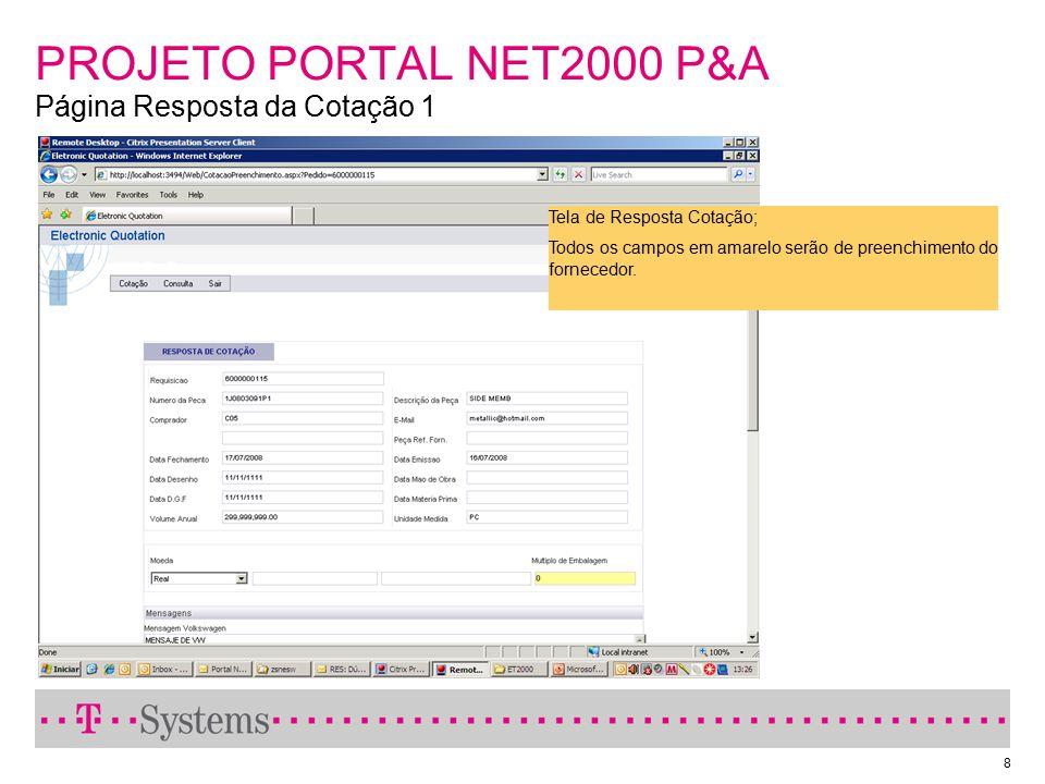 PROJETO PORTAL NET2000 P&A Página Resposta da Cotação 1
