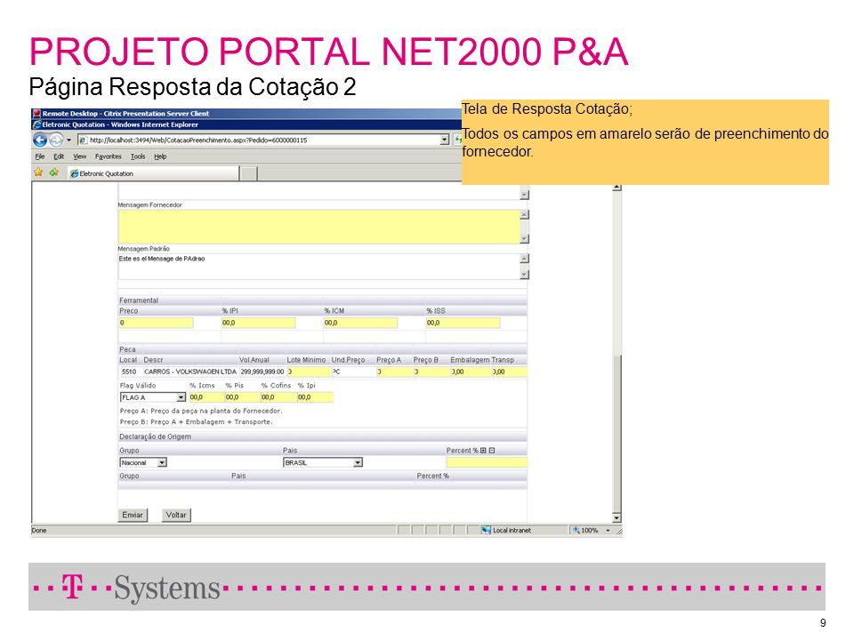 PROJETO PORTAL NET2000 P&A Página Resposta da Cotação 2