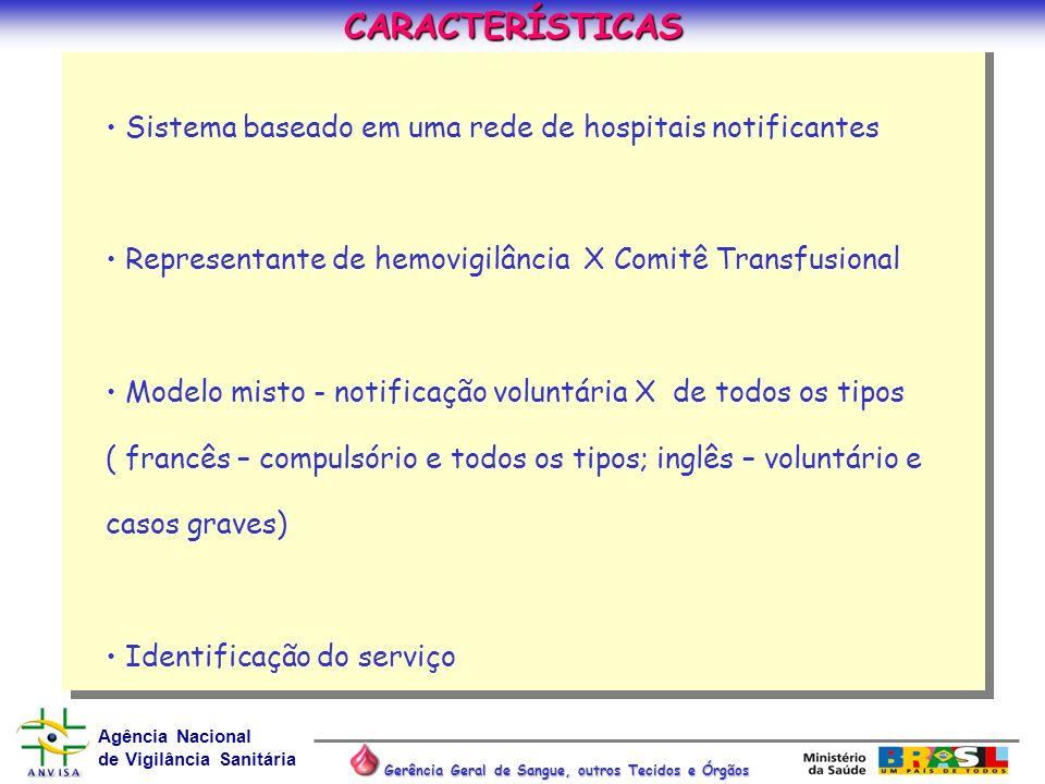CARACTERÍSTICAS Sistema baseado em uma rede de hospitais notificantes. Representante de hemovigilância X Comitê Transfusional.