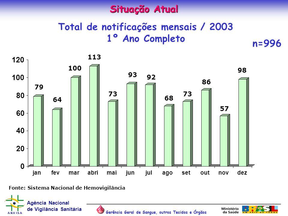 Total de notificações mensais / 2003 1º Ano Completo