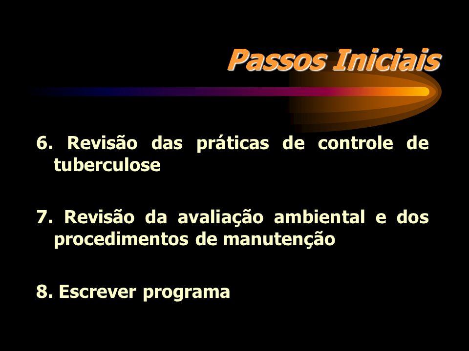 Passos Iniciais 6. Revisão das práticas de controle de tuberculose