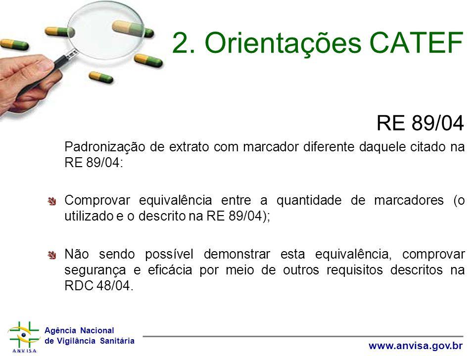 2. Orientações CATEF RE 89/04. Padronização de extrato com marcador diferente daquele citado na RE 89/04: