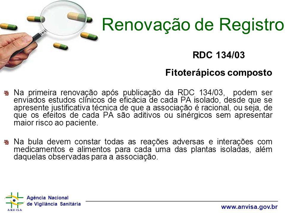 Renovação de Registro RDC 134/03 Fitoterápicos composto