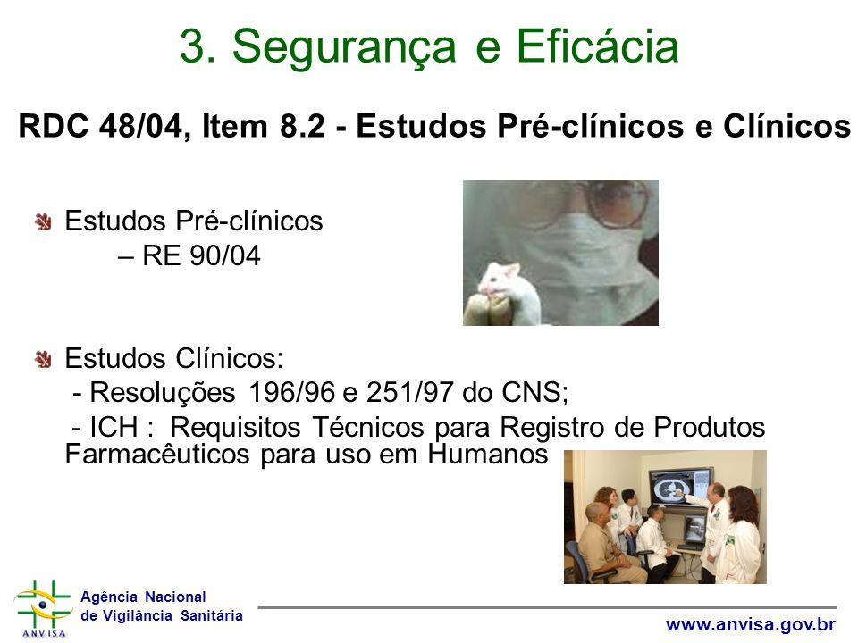 3. Segurança e Eficácia RDC 48/04, Item 8.2 - Estudos Pré-clínicos e Clínicos. Estudos Pré-clínicos.