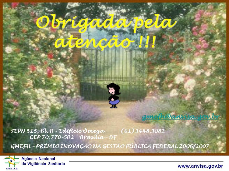 Obrigada pela atenção !!! gmefh@anvisa.gov.br