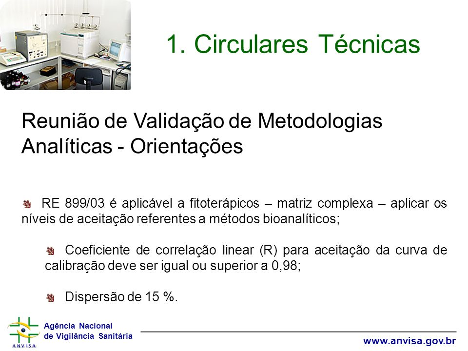 1. Circulares Técnicas Reunião de Validação de Metodologias Analíticas - Orientações.