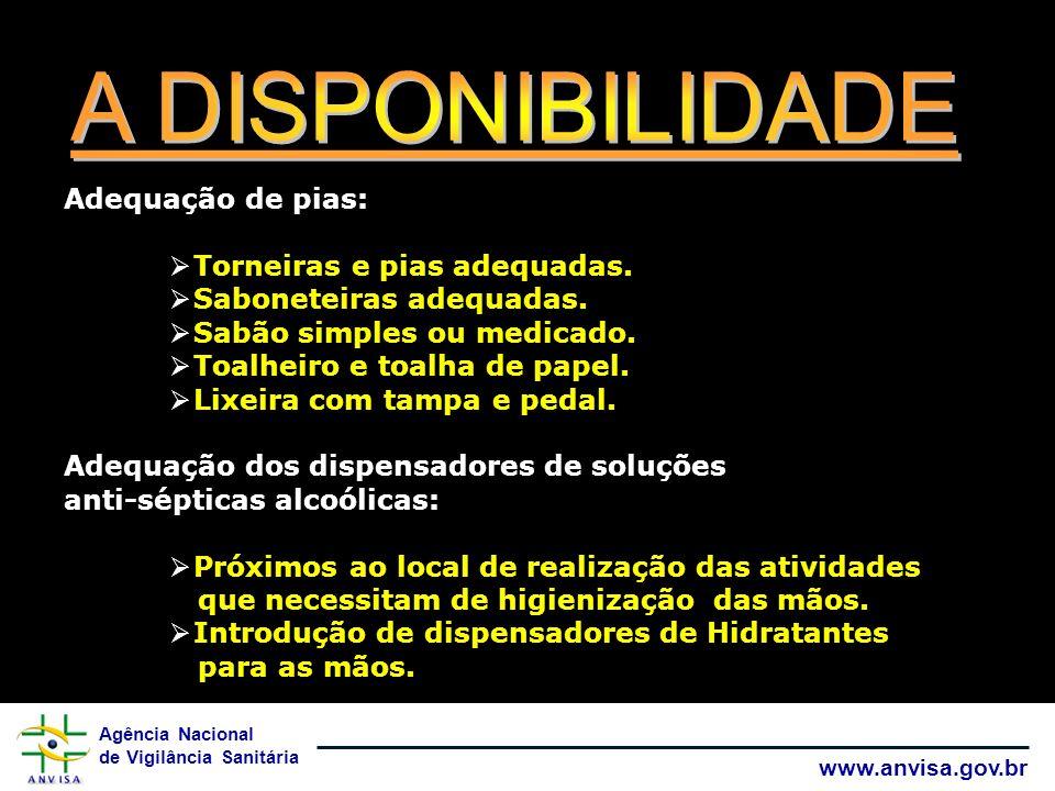 A DISPONIBILIDADE Adequação de pias: Torneiras e pias adequadas.