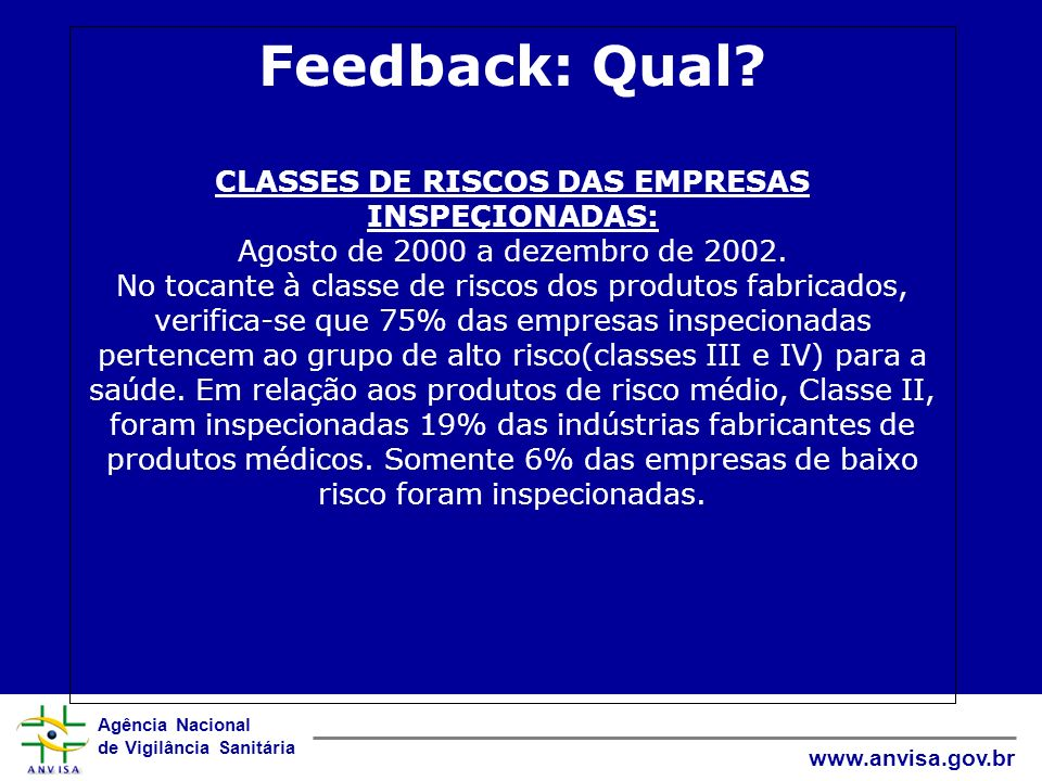 Feedback: Qual. CLASSES DE RISCOS DAS EMPRESAS INSPEÇIONADAS: Agosto de 2000 a dezembro de 2002.