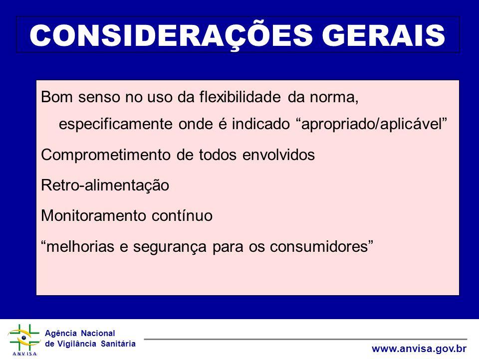 CONSIDERAÇÕES GERAIS Bom senso no uso da flexibilidade da norma, especificamente onde é indicado apropriado/aplicável