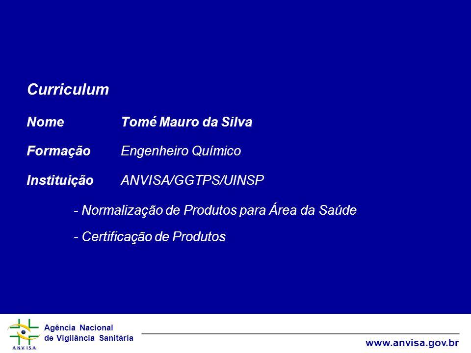 Curriculum Nome Tomé Mauro da Silva Formação Engenheiro Químico