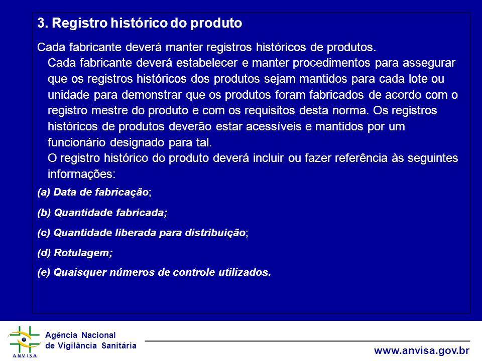 3. Registro histórico do produto