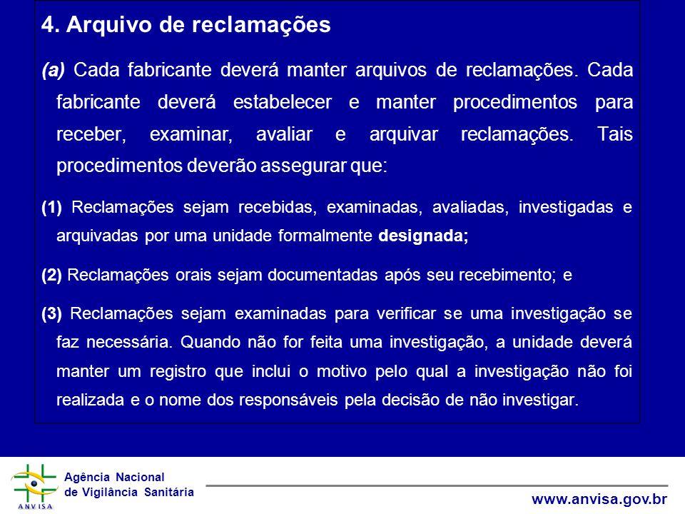 4. Arquivo de reclamações