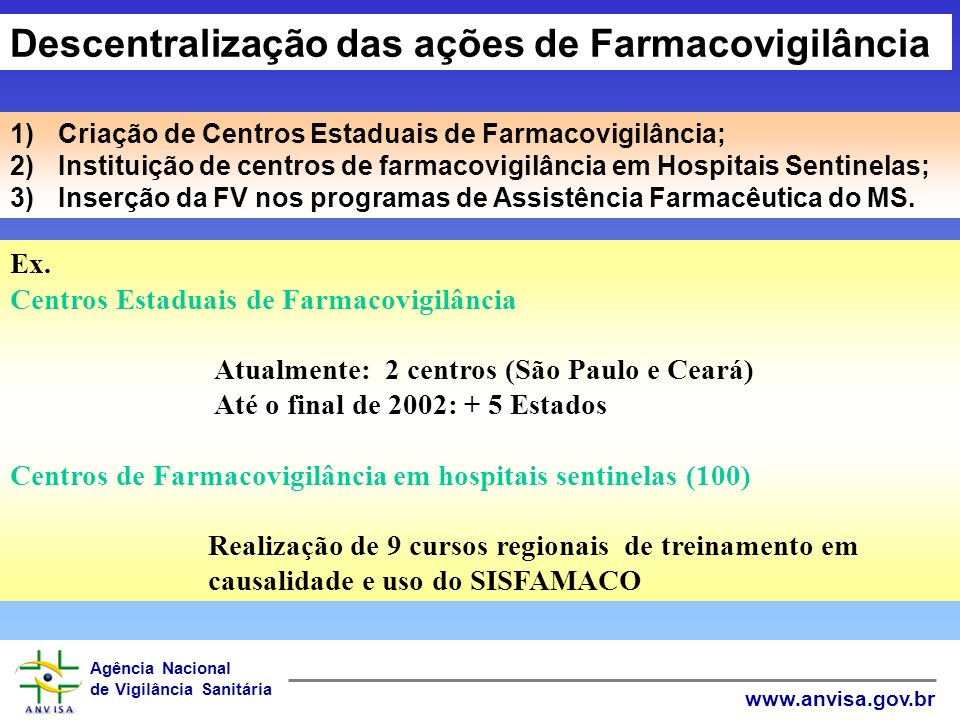 Descentralização das ações de Farmacovigilância