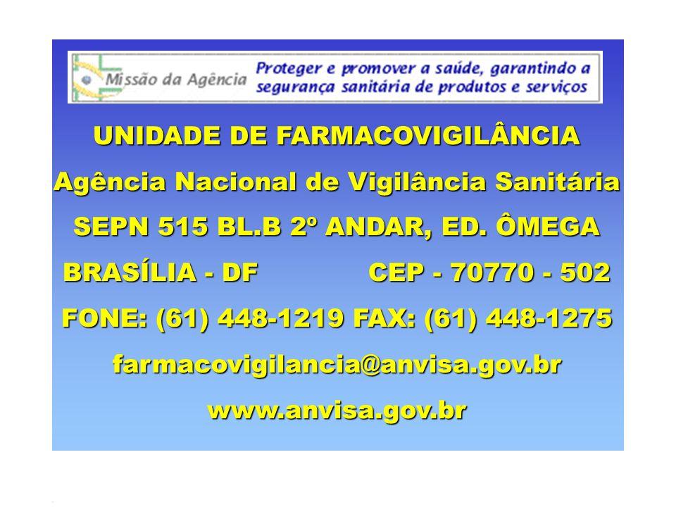 UNIDADE DE FARMACOVIGILÂNCIA Agência Nacional de Vigilância Sanitária