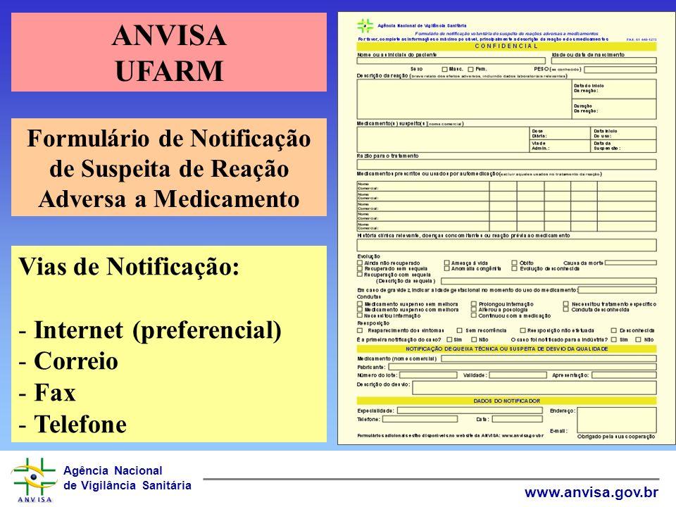 Formulário de Notificação de Suspeita de Reação Adversa a Medicamento