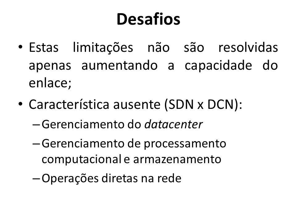 Desafios Estas limitações não são resolvidas apenas aumentando a capacidade do enlace; Característica ausente (SDN x DCN):