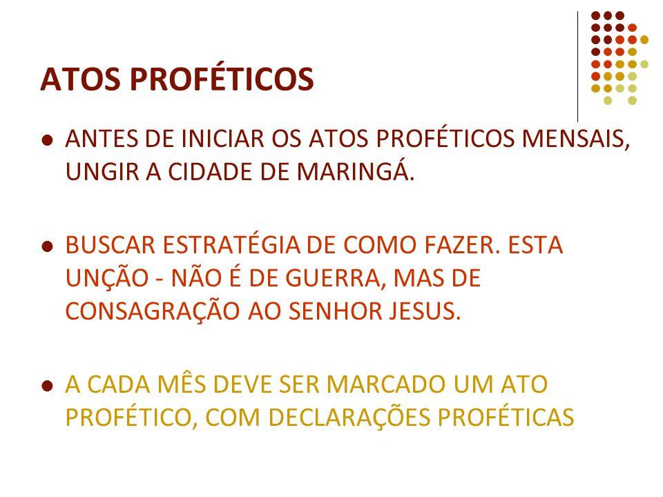 ATOS PROFÉTICOS ANTES DE INICIAR OS ATOS PROFÉTICOS MENSAIS, UNGIR A CIDADE DE MARINGÁ.