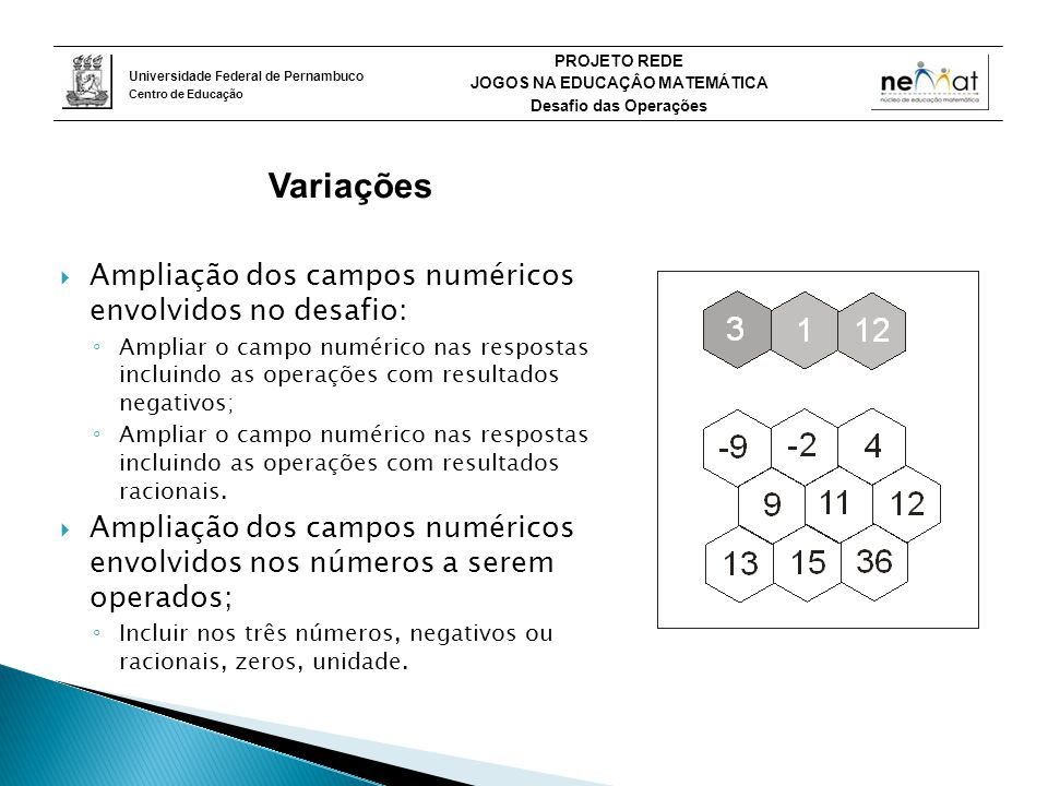 Variações Ampliação dos campos numéricos envolvidos no desafio: