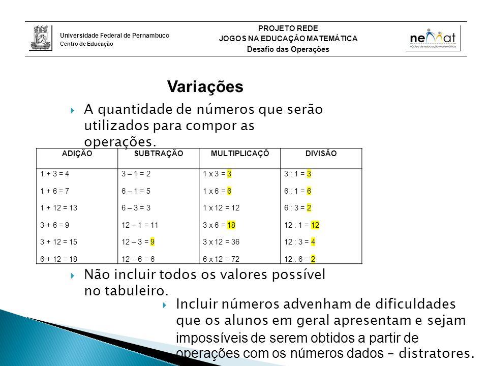 Variações A quantidade de números que serão utilizados para compor as operações. Não incluir todos os valores possível no tabuleiro.