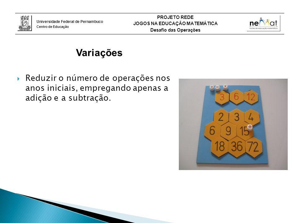 Variações Reduzir o número de operações nos anos iniciais, empregando apenas a adição e a subtração.