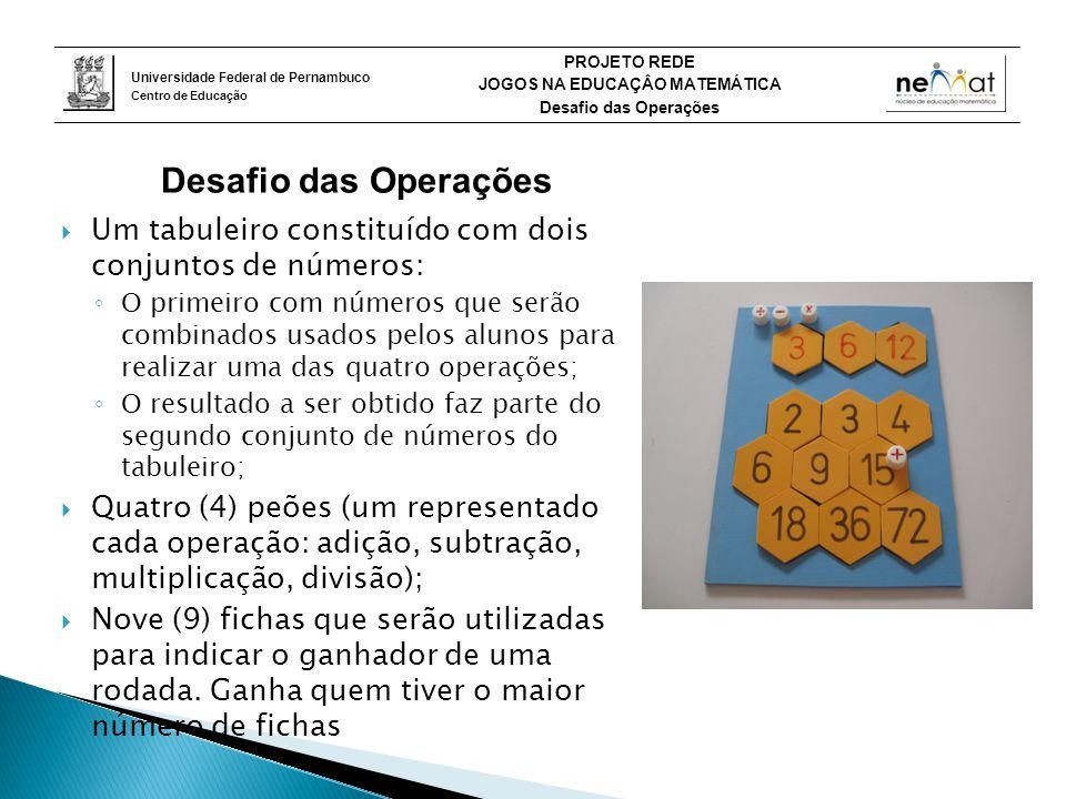 Desafio das Operações Um tabuleiro constituído com dois conjuntos de números: