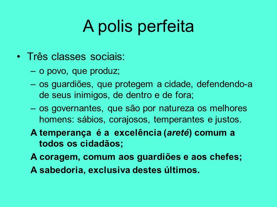 A polis perfeita Três classes sociais: o povo, que produz;