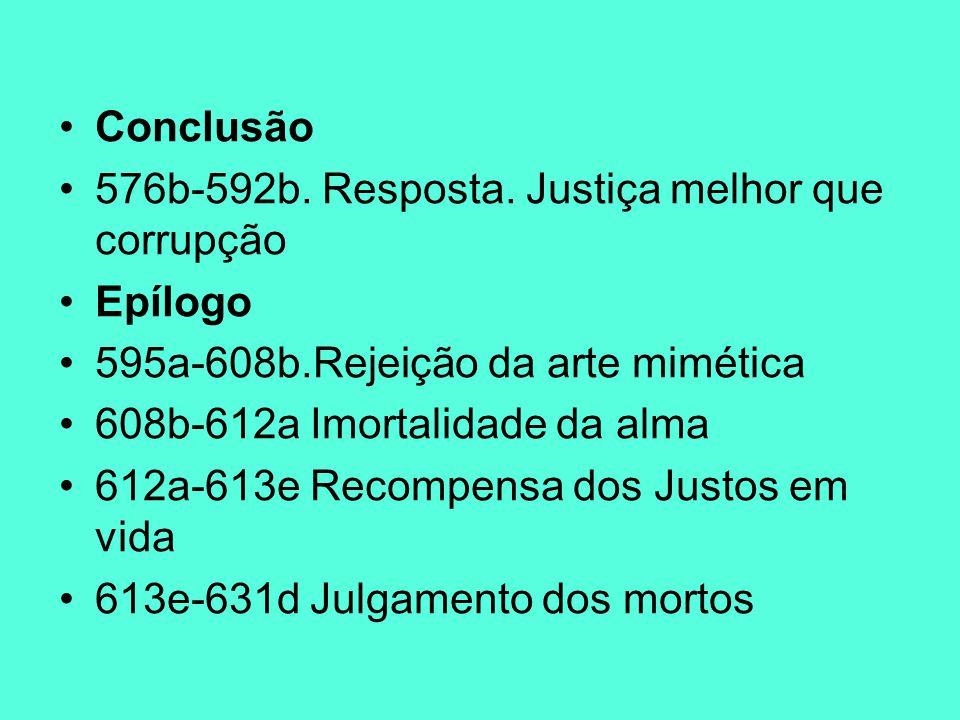 Conclusão 576b-592b. Resposta. Justiça melhor que corrupção. Epílogo. 595a-608b.Rejeição da arte mimética.
