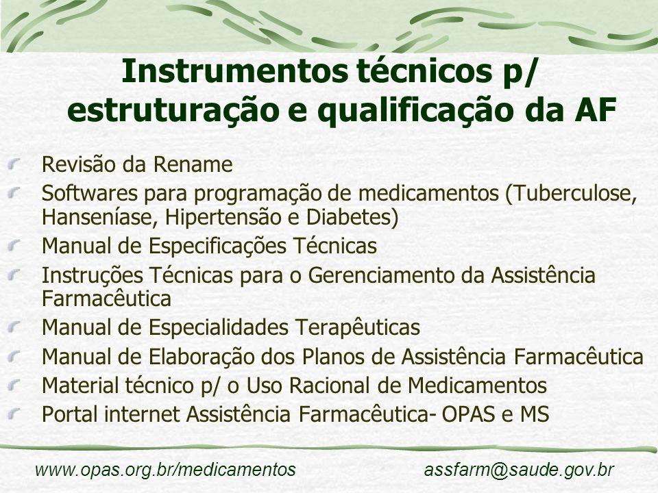 Instrumentos técnicos p/ estruturação e qualificação da AF