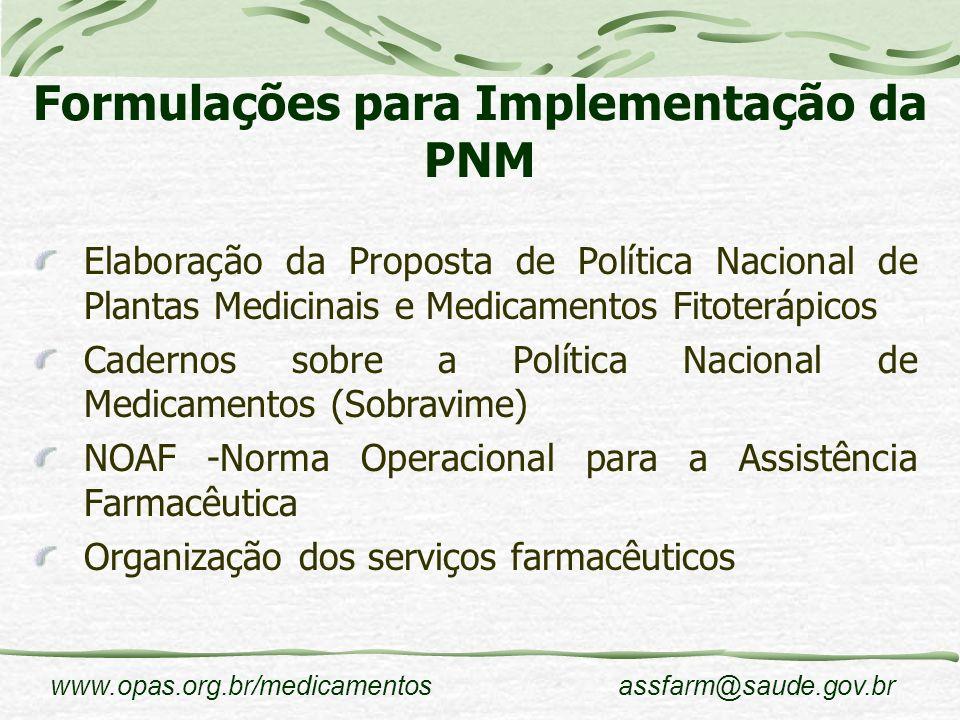 Formulações para Implementação da PNM