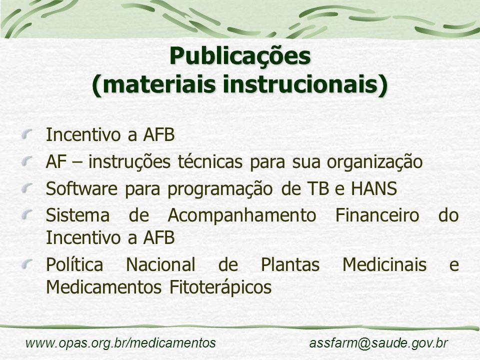 Publicações (materiais instrucionais)